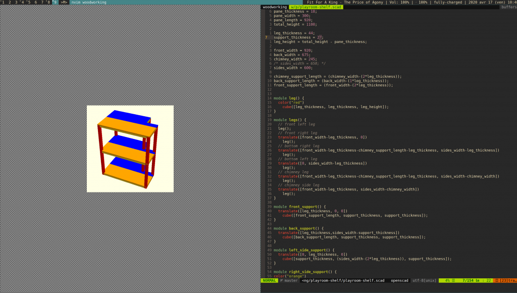 vim editing an openscad file alongside feh displaying the rendered model