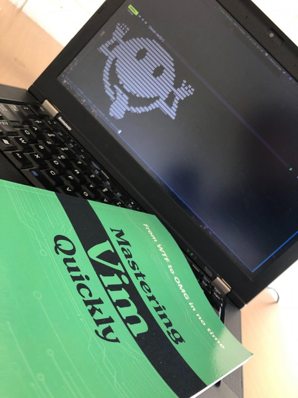 How to smile on a Monday morning? Step 1 - Get your copy of @masteringvim by @jovica (https://amzn.to/2ZrKUpy) Step 2 - Browse the book starting by the end Step 3 - Discover there is a :smile command in Vim Step 4 - Smile